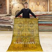 Yilong 4and039x6and039 Golden Silk Rugs Vintage Handmade Carpets Hand-knotted Y381
