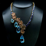 Elegant Natural Pear Top Sky Blue Topaz Sapphire....necklace 925 Silver