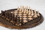 Vintage Wooden Chess Set Board Hand Carved Chessmen Big Size Checkerboard
