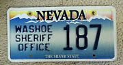 Nevada State License Plate Washoe Sheriff Office Auto Car Tag 187 Police Force