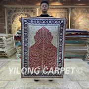 Yilong 2.7and039x4and039 Red Hand Knotted Silk Carpet Antique Interior Area Rug H208b