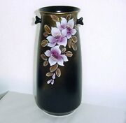 Luxurious Purple Flowers Signed Pottery Vase Gold Makie Rare New Old Stock Japan
