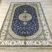 Yilong 5and039x8and039 Blue Handmade Silk Area Rugs Home Decor Hand Knotted Carpet 042c
