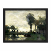 Weissenbruch Landscape Farm In A Pond Painting Framed Wall Art Print 18x24 In