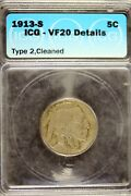 1913 - S Icg Vf20 Details T2 Cleaned Buffalo Nickel B19356