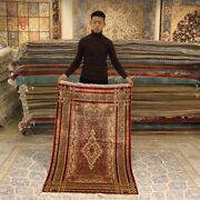 Yilong 3and039x5and039 Vintage Handmade Silk Carpet Red Rose Design Hand Knotted Rug L049a