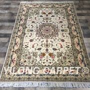 Clearance Yilong 4and039x6and039 Handmade Wool Silk Rug Hand-knotted Woollen Carpet 2046