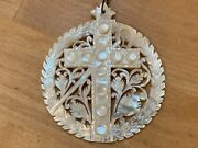 Vintage Antique Mother Of Pearl Necklace 2 Round Filigree Cross Pendant Rosary
