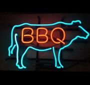 New Bbq Ox Cow Real Glass Neon Light Sign 17x14 Beer Bar Gift Light