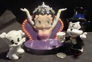 Betty Boop Porcelain Salt And And Pepper Shaker Diner Dog Bimbo Cat 75th 2005 New