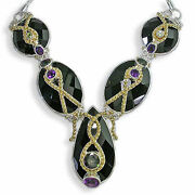 Offerings Sajen Ss And Vermeil Agate Necklace W. Mystic Topaz Amethyst And Peridot