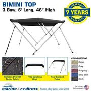 Bimini Top Boat Cover 46 High 3 Bow 6and039 Ft. L X 73 - 78 W Solution Dye Black