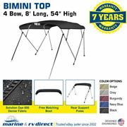 Bimini Top Boat Cover 4 Bow 54 H 73 - 78 W 8and039 Long Solution Dye 600d Black