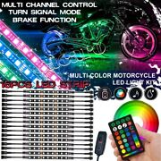 16pcs Rgb Motorcycle Led Light Under Glow Accent Neon Strip For Harley-davidson