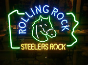 Pittsburgh Steelers Rolling Rock Neon Sign 20x16 Light Lamp Beer Decor Glass