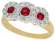 Antique Ruby And Diamond Ring In 18k Yellow Gold Size 5.75
