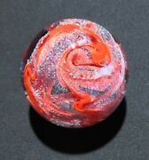 """Handmade Dichroic Glass Paperweight By Janet Wolery - Red/silver Swirls - 3 1/2"""""""