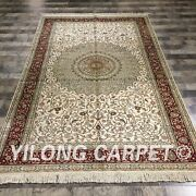 Yilong 5and039x8and039 Villa Handmade Silk Antique Carpets Medallion Hand-knotted Rug 061m