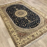 Yilong 6and039x9and039 Blue Hand Knotted Area Rugs Silk Antique Medallion Carpets 490c