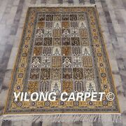 Yilong 4and039x6and039 Antique Silk Rugs Hand Knotted Handmade Garden Scenes Carpets Y166c