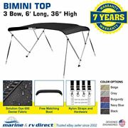 Bimini Top Boat Cover 36 High 3 Bow 6and039 Ft. L X 67 - 72 W Solution Dye Black