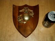 United States Marine Corps 3-d Metal Logo Solid Walnut Wood Wall Plaque Sign