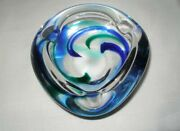 Cool Psychedelic Glass Ashtray Signed Max Verboeket Maastricht Mid 20th Century