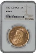1982 South Africa Krugerrand Gold Ms68 Ngc 942168-1