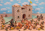Wooden Castle Painted Knights Playset - 54mm Painted Toy Soldiers Wood Castle