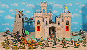 Grand Painted Knights And Wooden Castle Playset - 54mm Toy Soldiers, Wood Castle
