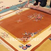Yilong 5.5and039x8and039 Warm Hand Knotted Wool Rug Chinese Art Deco Shaggy Woolen Carpet