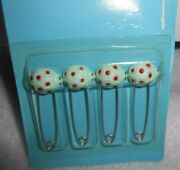 4-tidy Vintage Baby Diaper Safety Pins For Cloth Diapers Ladybugs Sealed Prop