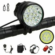 50000lm 15x Xm-l T6 Led Bicycle Headlight Cycling Front Lamp Rear Taillight Set