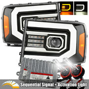 6000k Hid/for 07-13 Sierra Sequential Signal Polish Black Projector Headlights