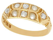 1880s Antique Victorian Seed Pearl And Diamond Yellow Gold Dress Ring Size 6 3/4
