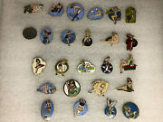 United States Air Force Nose Art Pin Lot 24 Brass Usa Clutch Backs