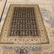 Yilong 4and039x6and039 Handmade Hand Knotted Carpets Blue Oriental Silk Area Rug Y434b