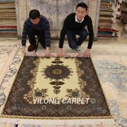 Yilong 4and039x6and039 Floral Silk Area Rugs Hand Knotted Carpets Medallion Handmade Q28a