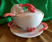 1981 Fitz And Floyd Lobster Lidded Tureen Underplate And Ladle