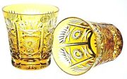 2 Ajka Yellow Gold Cut To Clear Cased Crystal Dof Whiskey Rocks Glasses New