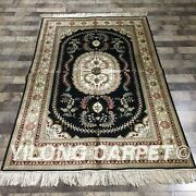 Yilong 4and039x6 Blue Classic Silk Handmade Area Rug Hand Craft Carpet For Sale 066m
