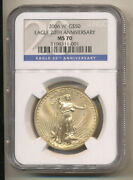 2006-w 50 Ngc Ms70 20th Anniversary Blue Label Burnished Gold Eagle