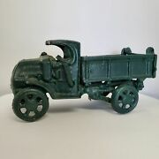 Vintage Collectible Green Cast Iron Metal Toy Dump Truck W/ Driver