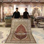 Yilong 5and039x8and039 Red Handmade Silk Home Carpet Antique Hand Knotted Area Rug Y435b