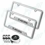 For Acura Mdx Rdx Tsx Tl Silver Stainless Steel License Plate Frame W/ Bolts Set