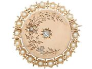 Antique French Seed Pearl 0.25 Ct Diamond 18k Yellow Gold Brooch