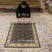 Yilong 3and039x5and039 Blue Hand-knotted Silk Carpet High Density Home Decor Area Rug 292h