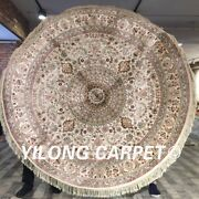 Yilong 6and039x6and039 Round Classic Silk Area Rug Circular Hand Knotted Silk Carpets 043m