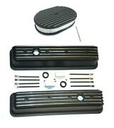 Chevy Black Aluminum Tall Finned Valve Covers And 12 Finned Air Cleaner Kit Sbc