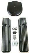 58-86 Chevy Black Aluminum Short Finned Valve Covers Cadillac Style Air Cleaner